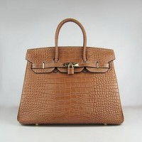 Hermes Birkin 35CM Crocodile Chocolate Gold