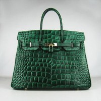 Hermes Birkin 35CM Crocodile Stripe Sea Green Gold