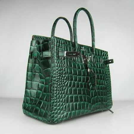 Hermes Birkin 35CM Crocodile Stripe Sea Green Silver