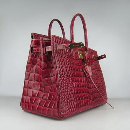 Hermes Birkin 40CM Crocodile Stripe Crimson Gold