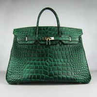 Hermes Birkin 40CM Crocodile Stripe Sea Green Gold