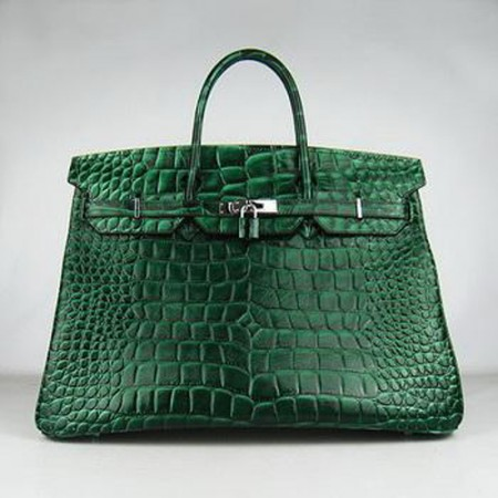 Hermes Birkin 40CM Crocodile Stripe Sea Green Silver