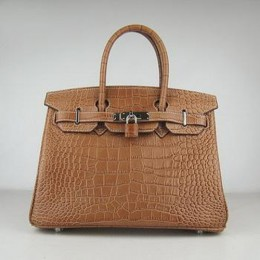 Hermes Birkin 30CM Crocodile Stripe Chocolate Silver