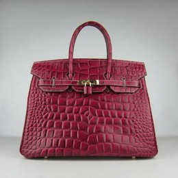Hermes Birkin 35CM Crocodile Stripe Crimson Gold