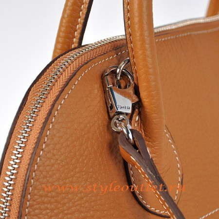 Hermes Bolide 31cm Light Coffee Togo Leather Bag Silvery