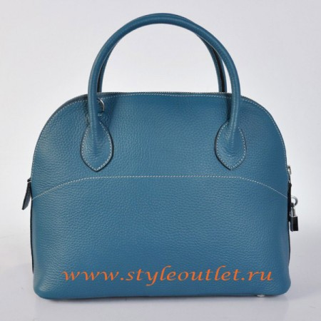 Hermes Bolide 31cm Medium Blue Togo Leather Bag Silvery
