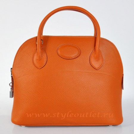 Hermes Bolide 31cm Orange Togo Leather Bag Silvery