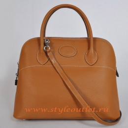 Hermes Bolide 37cm Light Coffee Togo Leather Bag Silvery