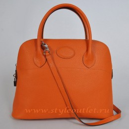 Hermes Bolide 37cm Orange Togo Leather Bag Silvery