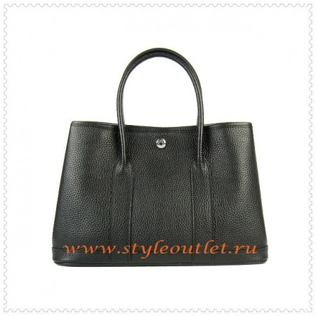 Hermes Garden Party Togo Leather Handbag Black Silver
