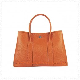 Hermes Garden Party Togo Leather Handbag Orange Silver