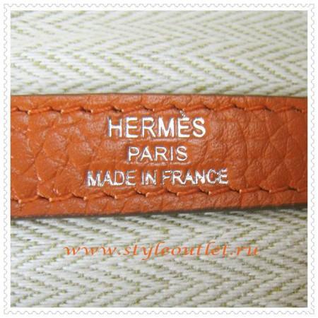 Hermes Garden Party Togo Leather Handbag Orange Silver