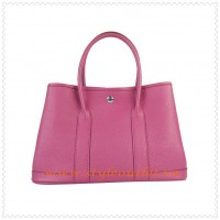 Hermes Garden Party Togo Leather Handbag Peach Silver