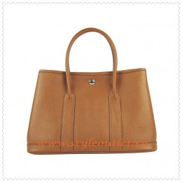 Hermes Garden Party Togo Leather Handbag light Coffee Silver