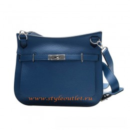 Hermes Jypsiere 28cm Togo Leather Shoulder Bag Deep Blue Silver
