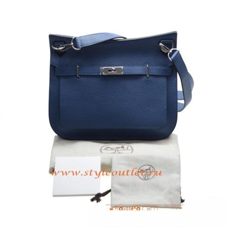 9ccf73d051ad Hermes Jypsiere 28cm Togo Leather Shoulder Bag Deep Blue Silver