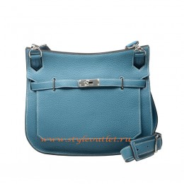 Hermes Jypsiere 28cm Togo Leather Shoulder Bag Light Blue Silver