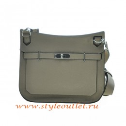 Hermes Jypsiere 28cm Togo Leather Shoulder Bag Light Gray Silver
