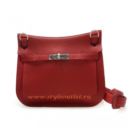 Hermes Jypsiere 28cm Togo Leather Shoulder Bag Red Silver