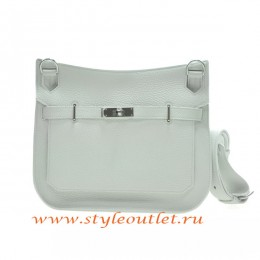 Hermes Jypsiere 28cm Togo Leather Shoulder Bag White Silver