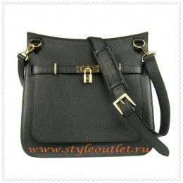 Hermes Jypsiere 34cm Leather Shoulder bag black golden