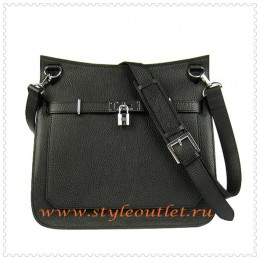Hermes Jypsiere 34cm Leather Shoulder bag black silver