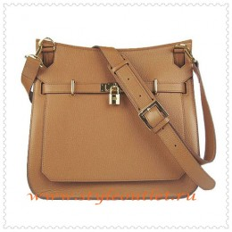 Hermes Jypsiere 34cm Leather Shoulder bag light coffee golden