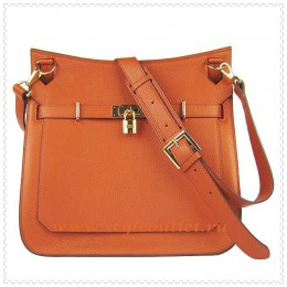 Hermes Jypsiere 34cm Leather Shoulder bag orange golden