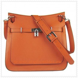Hermes Jypsiere 34cm Leather Shoulder bag orange silver