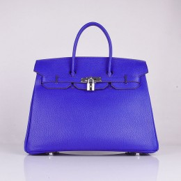 Hermes 6089 Birkin 35CM Tote Bag Blue Clemence Leather Silver