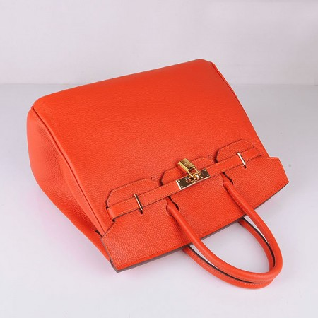 Hermes 6089 Birkin 35CM Tote Bag Orange Clemence Leather Gold