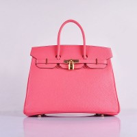 Hermes 6089 Birkin 35CM Tote Bag Pink lipstick Leather Gold