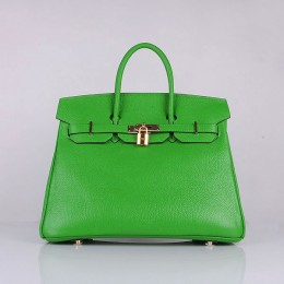Hermes 6089 Birkin 35CM Tote Bags Green Clemence Leather Gold