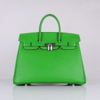 Hermes 6089 Birkin 35CM Tote Bags Green Clemence Leather Silver
