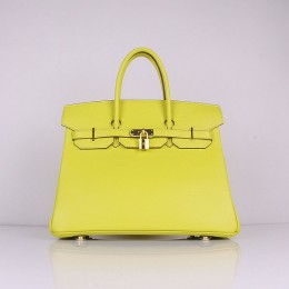 Hermes 6089 Birkin 35CM Tote Bags Lemon Clemence Leather Gold