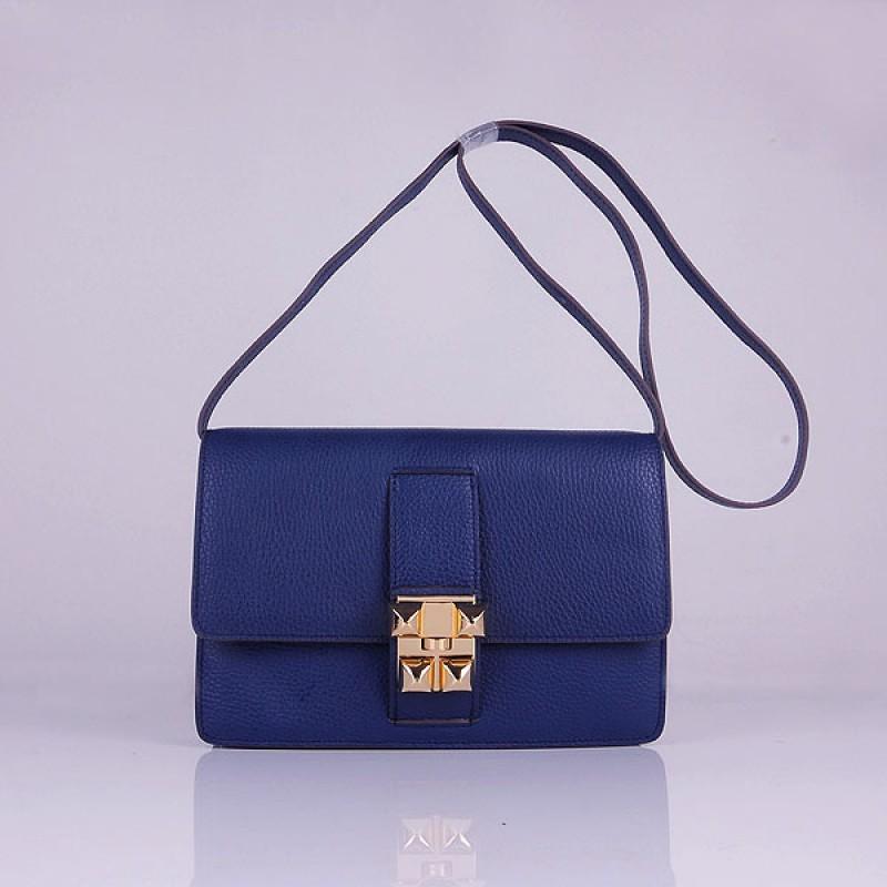 07bb6198eec Hermes Medor Dark Blue Calfskin Replica Shoulder Bag Gold