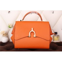 New Arrives Hermes 8065 Calf Leather Mini Top Handle Bag - Orange