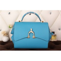New Arrives Hermes 8065 Calf Leather Mini Top Handle Bag - Sky Blue
