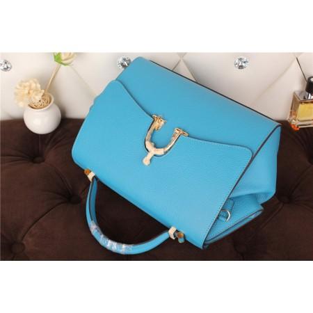 New Arrives Hermes 8065 Calf Leather Mini Top Handle Bag - Sky Blue