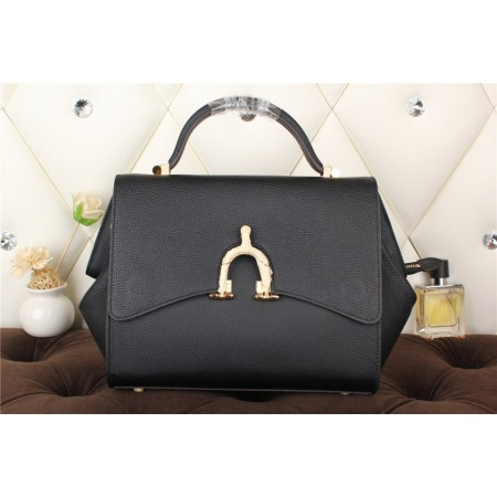 New Arrives Hermes 8065 Calf Leather Mini Top Handle Bag - Black