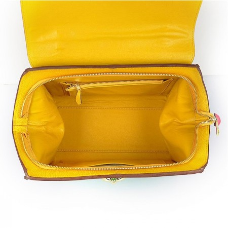 Hermes Stirrup Mini Top Handle Green Yellow Rosy Bag