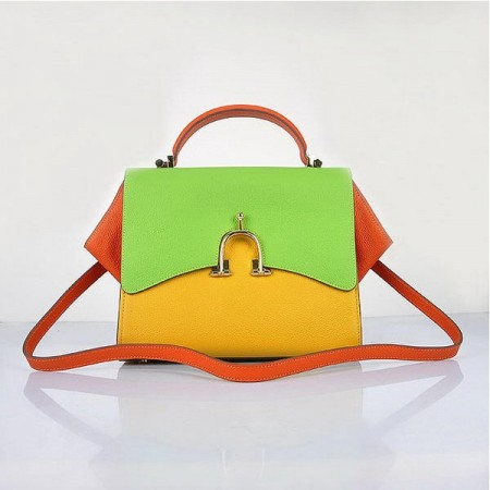 Hermes Stirrup Mini Top Handle Yellow Green Orange Bag