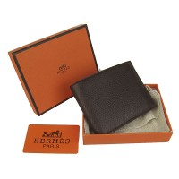 Hermes H014 Mini short Wallet Deep Coffee