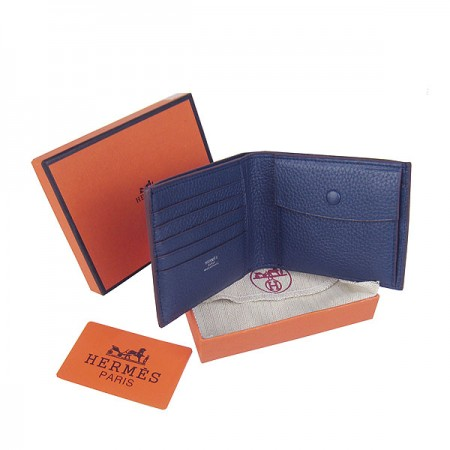 Hermes H014 Mini short Wallet Deep Blue