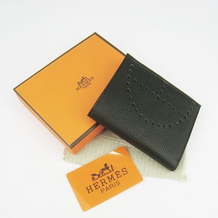 Hermes H025 Mini Short Punching H Wallet Black