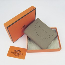 Hermes H025 Mini Short Punching H Wallet Khaki