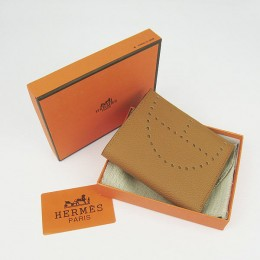 Hermes H025 Mini Short Punching H Wallet Light Coffee