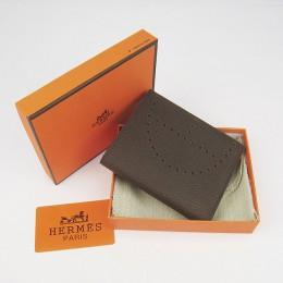 Hermes H025 Mini Short Punching H Wallet Deep Coffee