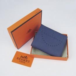 Hermes H025 Mini Short Punching H Wallet Deep Blue