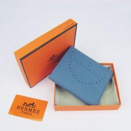 Hermes H025 Mini Short Punching H Wallet Smalt